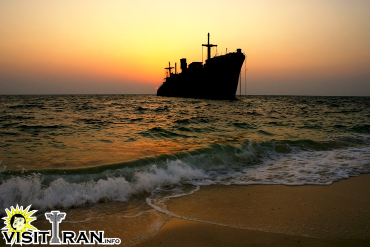 "The ""Greek ship"", an aground ship by the coast of Kish"