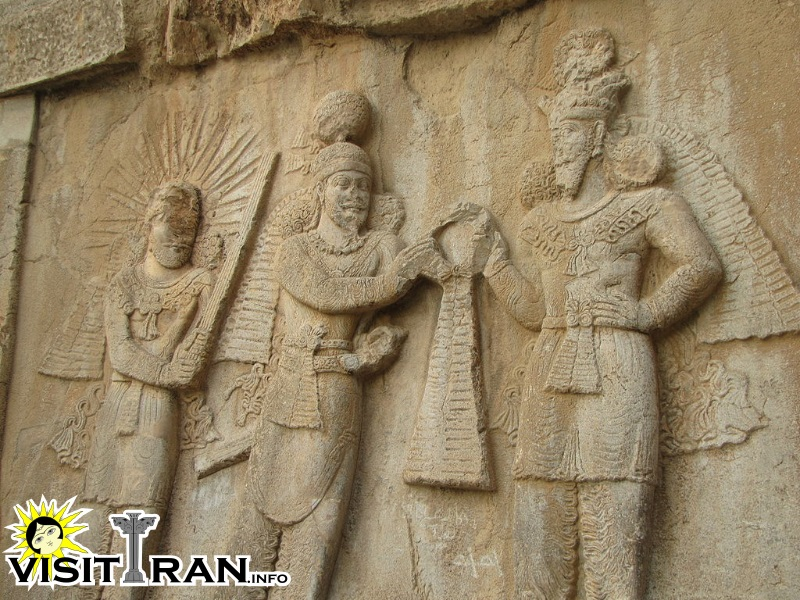 Ardashir II with Ahura Mazda to his left and Zoroaster to his right.