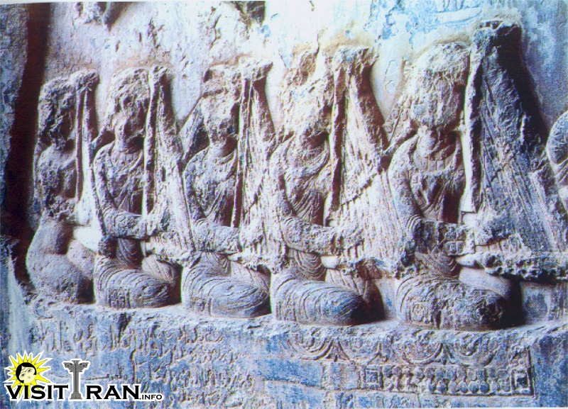 Women playing Harp in Taghe Bostan